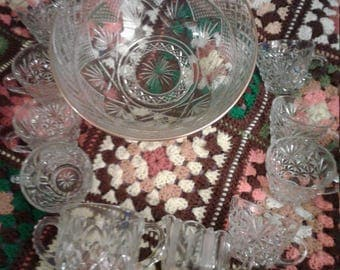 Crystal party punch bowl for 8