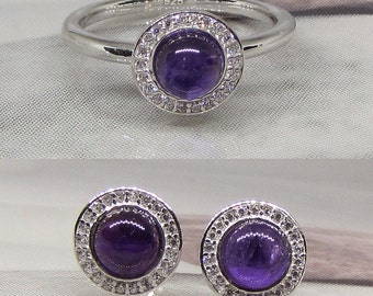 Set jewelry 925/1000 sterling silver and natural amethysts
