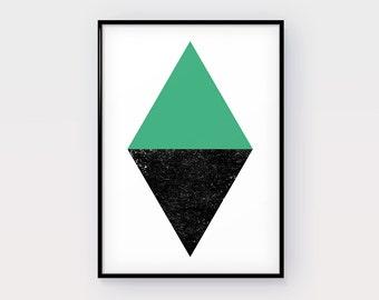 Forest green Print Art, Dirty Black, Lozenge-shaped, Digital Print, Top New Art, New Design, Minimalist Home Decor, Fine Design, Poster Art