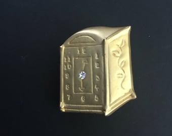 Vintage Clock Brooch, Signed AAi, Gold Tone, Clear Rhinestone