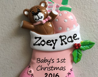 Pink Baby Stocking Personalized Christmas Ornament - Baby Girl's First Christmas