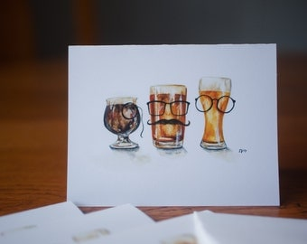 Beer glasses- watwrcolor cards