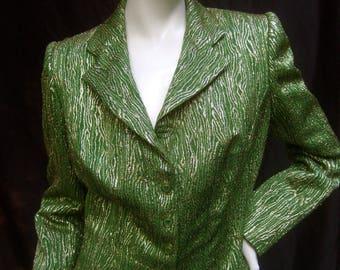 Luxurious Italian Chartreuse Metallic Lame Jacket for Neiman Marcus