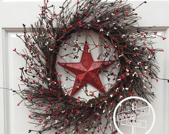 Patriotic Wreath, Twig Wreath, Star Wreath, Pip Berry Wreath, Rustic Wreath, Wreath Street Floral, Red White Blue Wreath, Summer Wreath