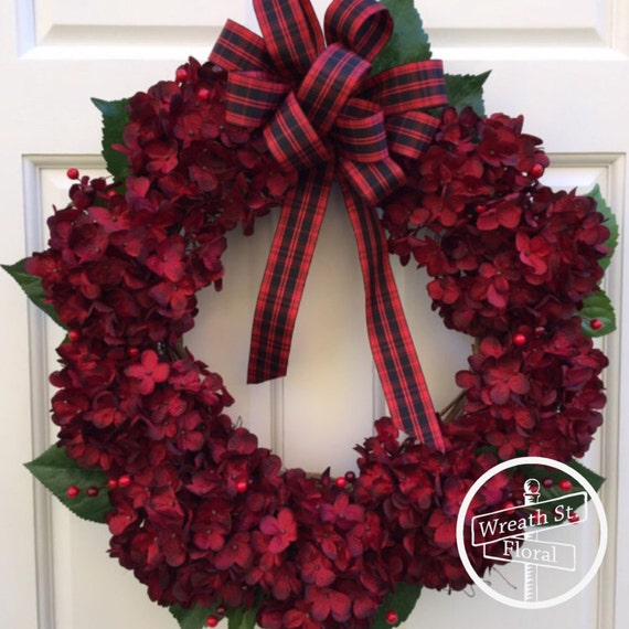 Christmas Wreath, Hydrangea Wreath, Red Wreath, Door Wreath, Wreath Street Floral, Holiday Wreath, Grapevine Wreath, Wreath