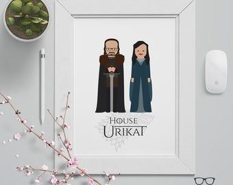 Custom Couple Portrait - Game of Thrones Theme - Ned & Catelyn Stark - Custom Made