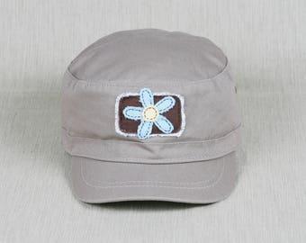 Cadet cap with handmade flower decal