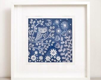 Kristina Owl in midnight blue, limited edition linocut print