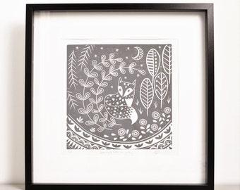 Daniel Fox in grey, limited edition linocut print
