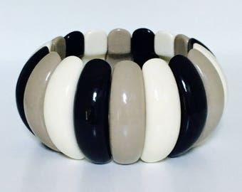 Vintage 80s Chunky Bracelet Black White Gray Stretch Bracelet Vintage 1980s Bangle