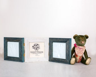 Baby Handprint and Footprint Frame Kit, Baby Shower Party Gift, 3 Piece Square Picture Frame Set, Baby Clay Hand or Foot Print Kit