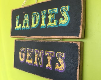 Pair of Handmade Vintage Circus Style Hanging Wooden Toilet Signs - Ladies and Gents
