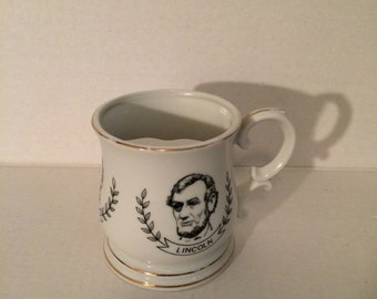President mustache mug, mustache coffee mug, Abraham Lincoln, Grant, Roosevelt, vintage coffee cup