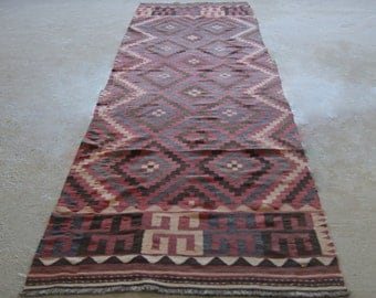 "3'4""x14'6'' Antique Qashqai Rug, Vintage Runner Rug, Colorful Persian Runner"