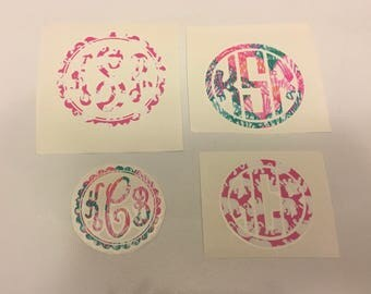 Pattern Vinyl Decal Monogram With Border