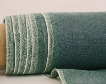 Green Linen Fabric By Yard / Transparent Linen Farbic / Pure 100% Linen Fabric From Lithuania / Stone Washed Linen /  Striped Linen Fabric