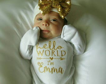 Hello World personalized one piece and hospital hat- baby girl one piece, gold baby outfit, baby gift, sequin baby hat, take home outfit