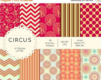 "80% Until New Year - Circus digital papers - orange mint ferris wheel party and carnival - 10jpg 12x12"" 300dpi - scrapbooking, instant downl"
