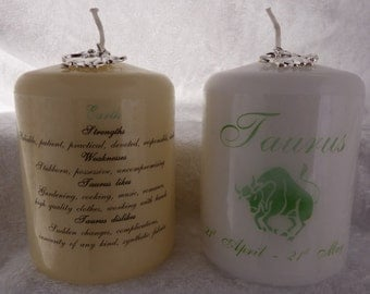 3 Inch - Zodiac Candle with Strengths, Weaknesses, Like & Dislikes - Taurus