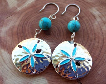 Silver and turquoise blue Sand dollar earrings