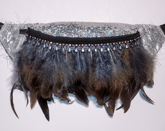 Iridescent Silver Sequin feather fringe with jewel trim Bum Bag