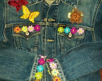 upcycled pepe jeans jacket hippy boho festival