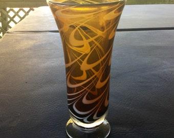 """Amber Art Glass Vase With White Swirls 9"""""""
