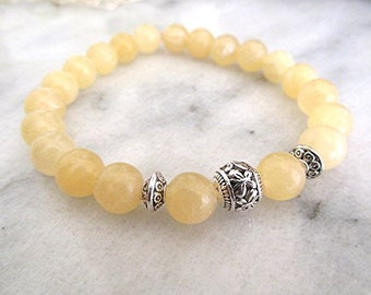 Yellow topaz bracelet gemstone bracelet yoga bracelet natural gemstone healing chakra meditation pagan new age boho hippie gift.