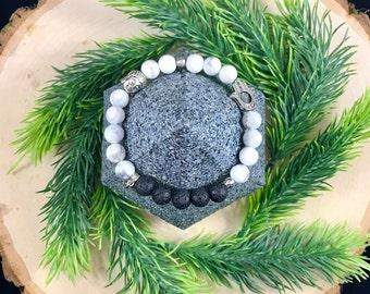 Howlite Bracelet | Essential Oil Diffuser Bracelet | Meditation Bracelet | Natural Stone | Healing Bracelet | Zen Bracelet | Yoga Bracelet