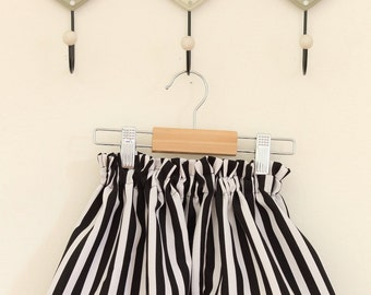 Black white striped skirt girl. Available sizes 18 months-5 years to order