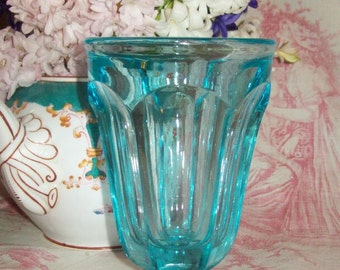 big old blue glass Cup ice