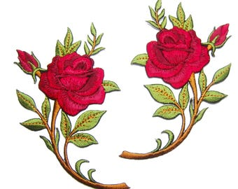 Flower Patches Red Rose Patches iron on Patch Embroidered Patches Floral Roses Bunch (16x10cm) SR04 New