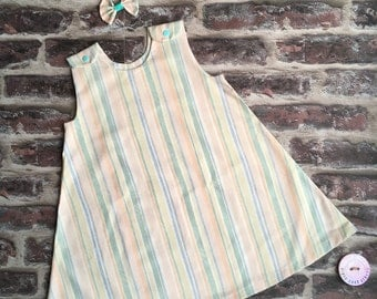 Girls pinafore dress/ striped safari pinafore dress / pretty girl summer dress/ baby girl pinafore dress/baby girl holiday dress/ pretty