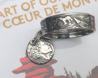 2017 Heart of Our Nation Canada's 150th Anniversary 3 Dollar Coin Ring -- 99.99% Pure Silver