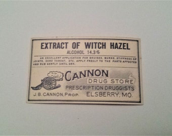 Antique Pharmacy Label - Extract of Witch Hazel, Witch Hazel, Label for Witch Hazel Bottle, Vintage Bottle Labels, Drug Labels