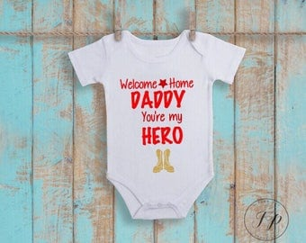 Boys Welcome Home Daddy (Red) Onesie