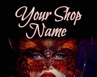 Mask Lady Banner, Fantasy Banner Set, Shop Banner Set, Custom Banner, Graphic Design, Shop Banner, Banner Design, Premade Banner