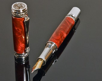 Handcrafted Fountain Pen - The Majestic - Acrylic Marinara Red