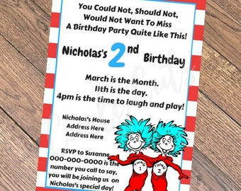 Dr Suess Thing One & Thing Two Birthday Invitation PDF