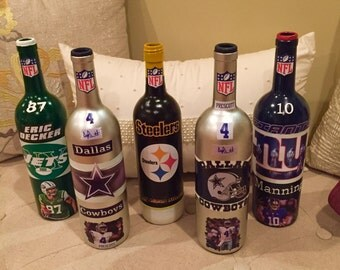 Decorated Recycled Sports Wine Bottle - Man cave - Made to order - price listed per bottle
