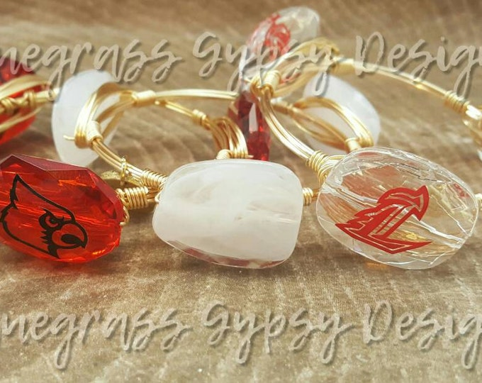 20% off University of Louisville Wire Wrapped Bangle Set, Wire Bangles, Bracelets, Bourbon and Boweties Inspired