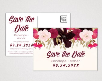 Boho Save the Date Postcard Template: A Printable Bohemian Wedding Announcement Post Card, DIY Digital Instant Download Editable PDF K002