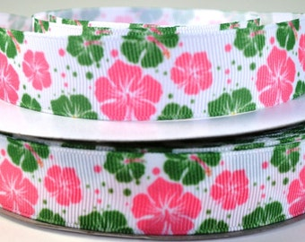 "7/8"" Hibiscus Flower - Pink and Green Hibiscus - Grosgrain Ribbon"