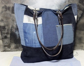Patchwork tote bag, leather handles, blue marine suede, boho bag, vintage fabrics, Included dust-guard
