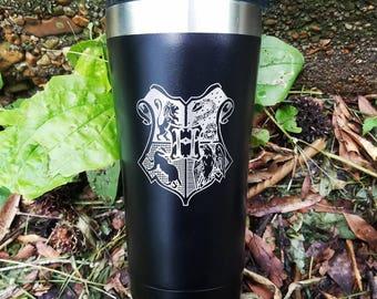 Harry Potter Hogwarts crest Hufflepuff Gryffindor Slytherin Ravenclaw coffee cup laser engraved tumbler