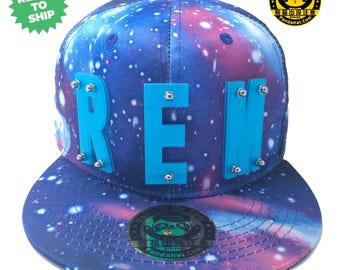 Sparkling REM Acrylic Letter Snapback Galaxy Blue Hat