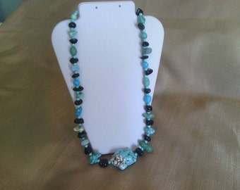327 Black Agate and Magnesite Turquoise Long Beaded Necklace