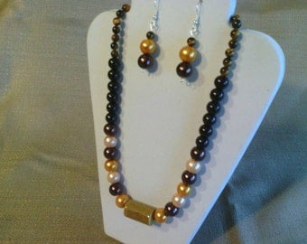 146 Modern Style Beaded Necklace with Pocelain Beads and Glass Pearls and Tigereye Beads