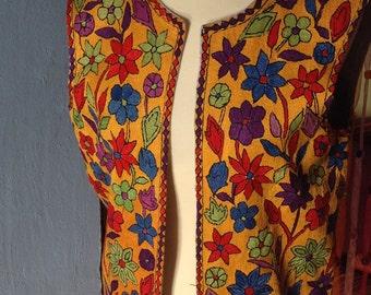 GORGEUS Gypsy 70s Floral embroidered Afgani Vest  hippie bohemian
