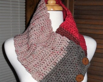 Multi colored Crocheted Cowl